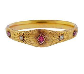 Antique 14K Gold Diamond Red Stone Bracelet