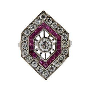Platinum Diamond Red Stone Ring