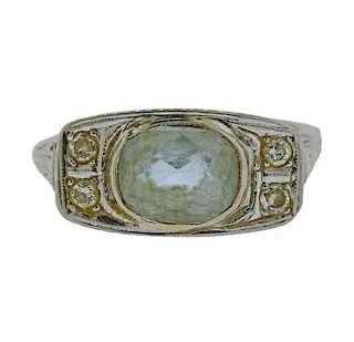 Art Deco 18K Gold Diamond Blue Stone Ring