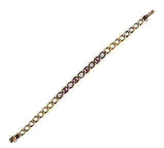 Antique 14K Gold Pearl Red Stone Bracelet