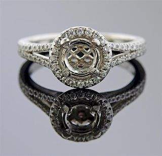 Platinum Diamond Halo Engagement Ring Setting