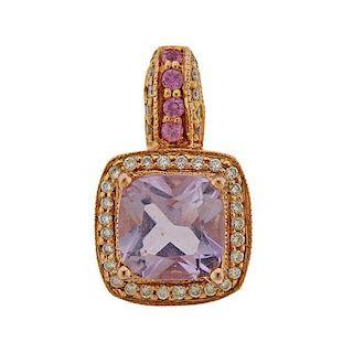 LeVian Le Vian 14K Gold Diamond Amethyst Pendant