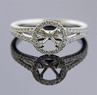14k Gold Diamond Halo Engagement Ring Setting