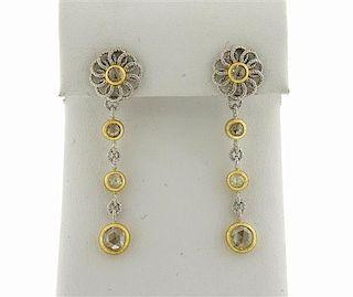 Buccellati 18K Gold Rose Cut Diamond Drop Earrings
