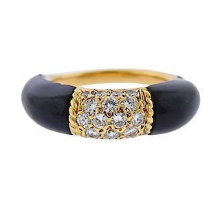 Van Cleef & Arpels 1970s Diamond Onyx 18k Gold Ring