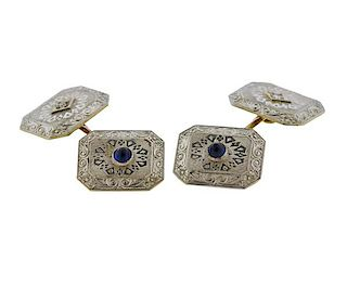 Art Deco Antique Platinum Gold Cufflinks