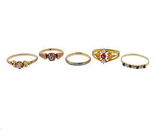 Antique Gold Diamond Gemstone Pearl Ring Lot 5pc