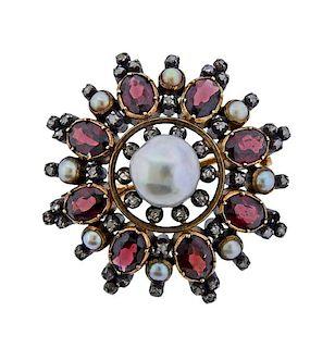 Antique 18k Gold Silver Pearl Diamond Garnet Brooch Pendant