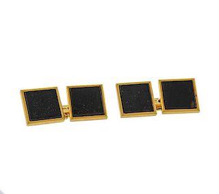 Mid Century 18k Gold Bloodstone Cufflinks