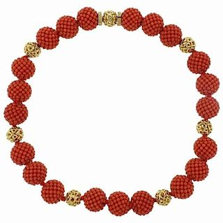 Adria de Haume Coral 18k Gold Necklace