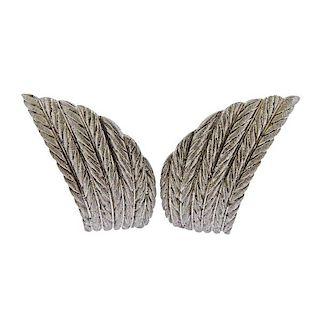 Buccellati 18k  Gold Wing Motif Earrings