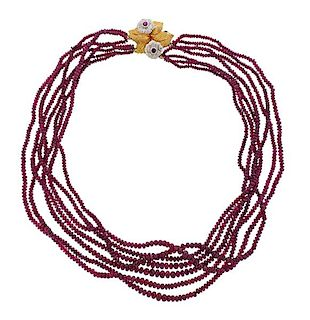 Buccellati 18k Gold Gemstone Bead Necklace
