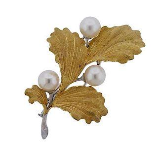 Buccellati 18k Gold Pearl Brooch Pin