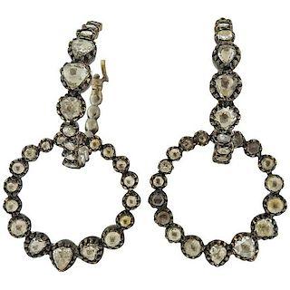 Rose Cut Diamond Silver 14k Gold Circle Hoop Earrings
