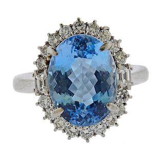 Platinum 7.90ct Aquamarine Diamond Cocktail Ring