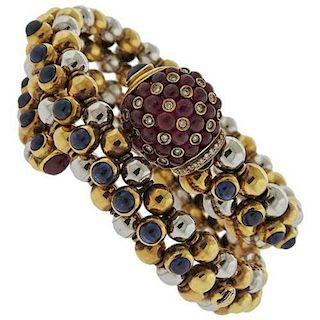 18k Gold Ruby Sapphire Cabochon Diamond Wrap Bracelet