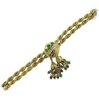 1960s Ruby Emerald Diamond 18k Gold Tassel Bracelet