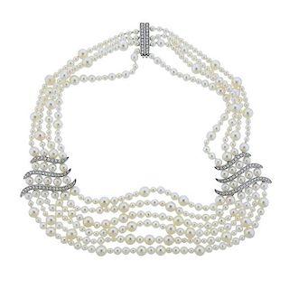 Asprey Diamond Pearl 18k Gold Necklace