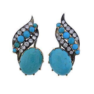 Mid Century Diamond Turquoise 18k Gold Earrings