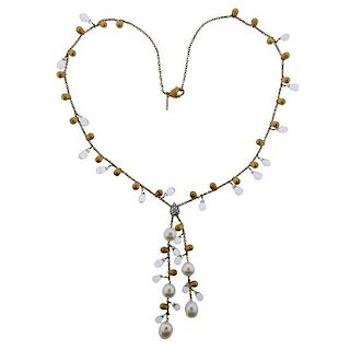 Marco Bicego Diamond Pearl 18k Gold Lariat Necklace