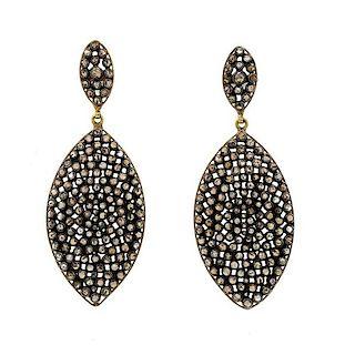 Vermeil Rose Cut Diamond Drop Earrings