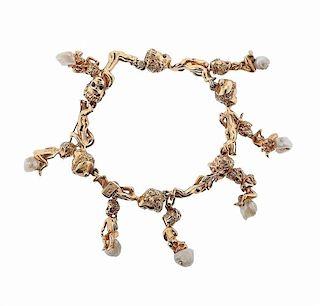 Ruser Retro 14k Gold Pearl Sapphire Cherub Charm Bracelet