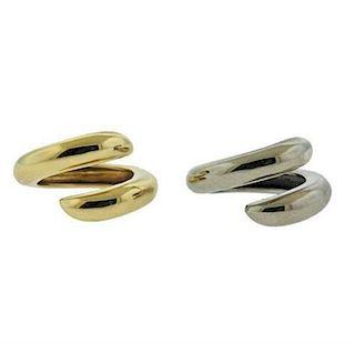 Chaumet Paris 18k Yellow White Gold Ring Set