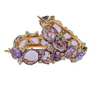 Pomellato Lulu Amethyst Diamond 18k Gold Hoop Earrings