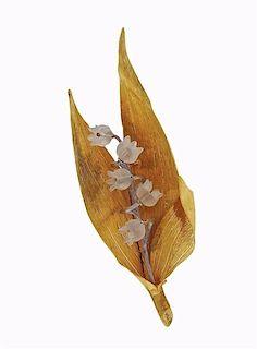Buccellati 18K Gold Crystal Flower Brooch Pin