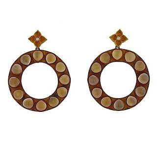 Antonio Bernardo Gold Moonstone Diamond Circle Earrings