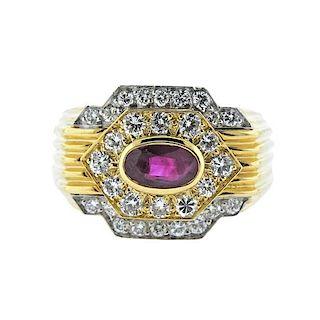 David Webb Ruby Diamond Platinum 18k Gold Ring