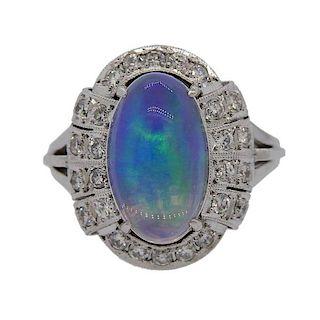 3.18ct Opal Diamond Platinum Ring