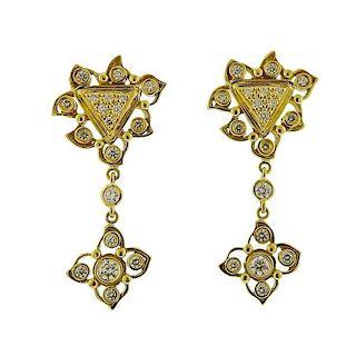 Doris Panos Double Desire 18k Gold Diamond Drop Earrings