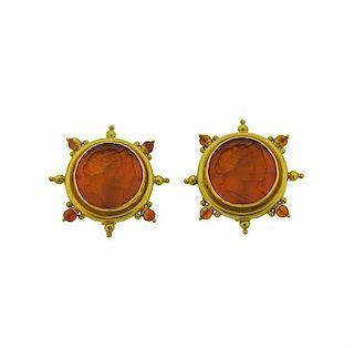 Elizabeth Locke Venetian Glass Intaglio Citrine 18k Gold Earrings