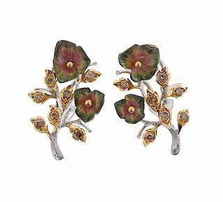 Buccellati Diamond Tourmaline 18k Gold Flower Earrings