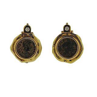Elizabeth Gage Ancient Coin Diamond 18k Gold Earrings