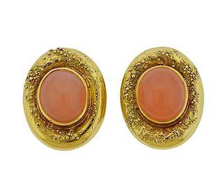 Elizabeth Gage Peach Moonstone 18K Gold Earrings