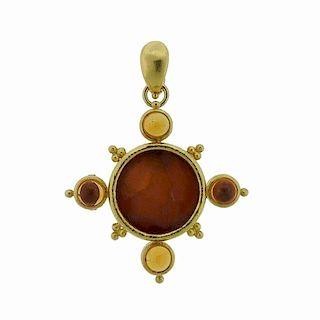 Elizabeth Locke 18k Gold Venetian  Intaglio Citrine Pendant Brooch