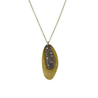 Todd Reed 18k Gold  Silver Fancy Diamond Pendant Necklace