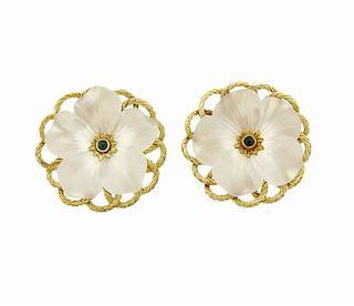 Buccellati 18k Gold Crystal Emerald Flower Earrings