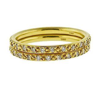 18k  Gold Pave Diamond Band Ring Set of 2