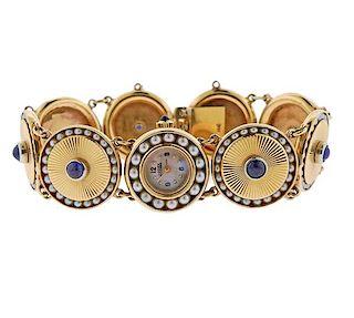 Lucien Piccard Retro 14k Gold Gemstone Watch Bracelet
