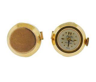Daumier 14k Gold Mid Century Cufflinks Watch