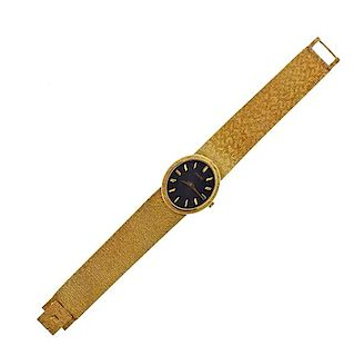 Piaget 18k Gold Black Dial Manual Watch