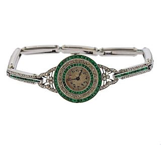 Art Deco Platinum Diamond Emerald Watch