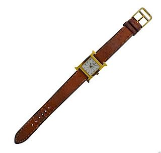 Hermes H Gold Tone Watch HH1.201