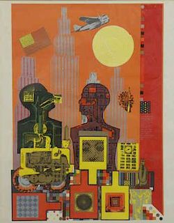 "PAOLOZZI, Eduardo. Color Screenprint ""Wittgenstein"