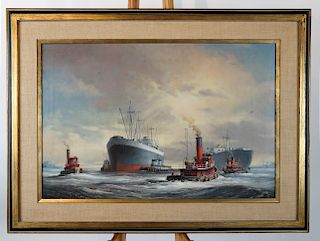 Melvin MILLER, JR.: Tug Boats - Oil on Canvas