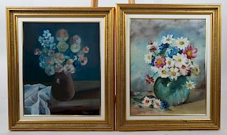 Two 20th C. Floral Still Life Paintings