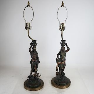 Pair 19th Century Orientalist-Style Figurine Lamps